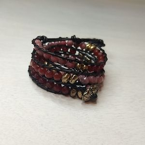 Lucky Brand Leather and Stone Wrap Bracelet